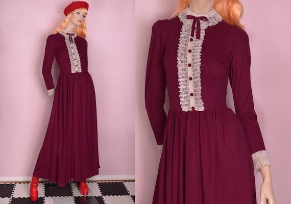 34f60ec7f70c6 70s Lace Trim Berry Maxi Dress  XS   1970s  Long Sleeve