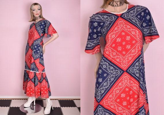 70s Bandana Print Maxi Dress/ XS/ 1970s