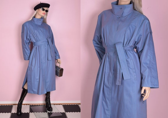 80s Blue and Pink Trench Coat/ US 12/ 1980s/ Jacke