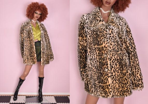 90s Y2K Animal Print Plush Coat/ XL/ Jacket