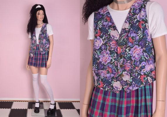 80s Floral Print Vest/ Medium/ 1980s