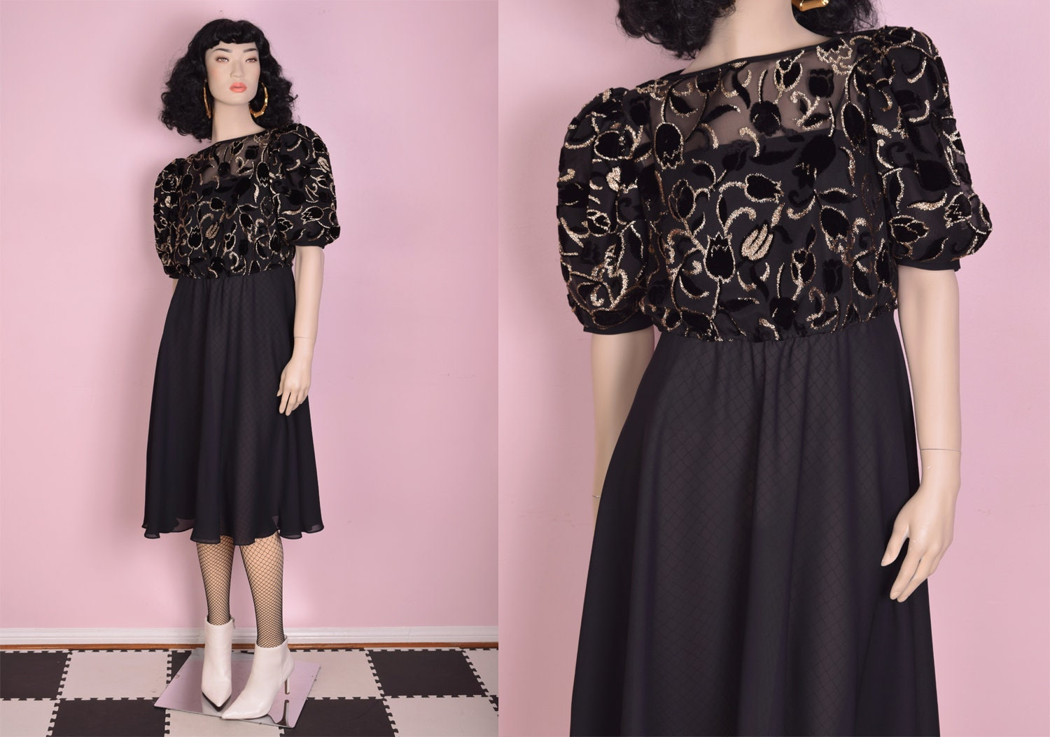 80s Dresses | Casual to Party Dresses 80S Black  Gold Floral Flocked Puffy Sleeve Party Dress Medium 1980S $41.22 AT vintagedancer.com