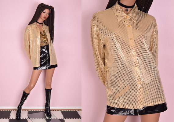 80s Faux Sequin Metallic Blouse/ Large/ 1980s/ Lon