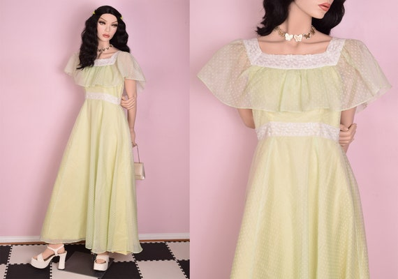 70s Flocked Lace Trim Formal Dress/ Small/ 1970s