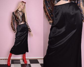 90s Black Maxi Skirt/ Small/ 1990s