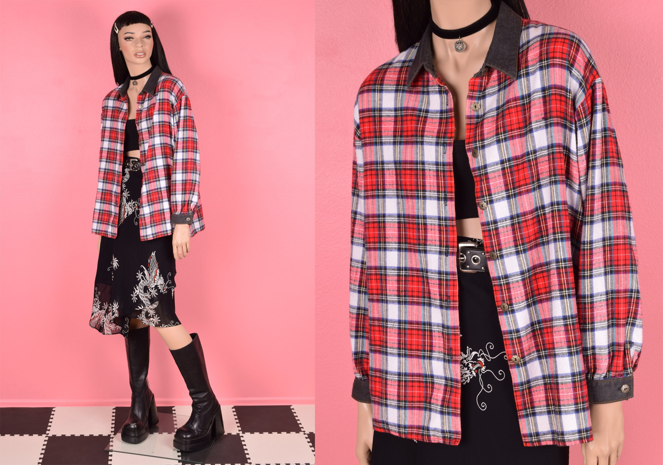 80s Tops, Shirts, T-shirts, Blouse   90s T-shirts 80S Chambray Trim Plaid Flannel Shirt Large 1980S Long Sleeve Button Down $29.32 AT vintagedancer.com