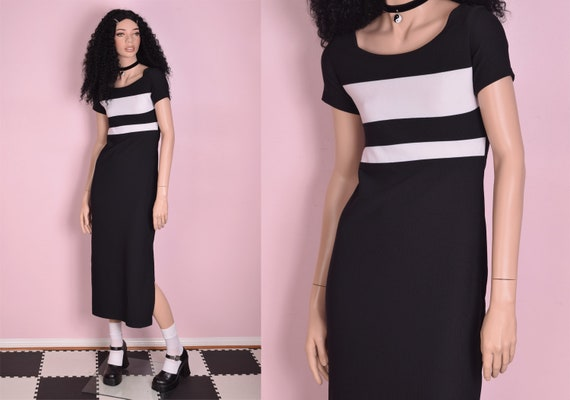 90s Black and White Striped Maxi Dress/ Small/ 199