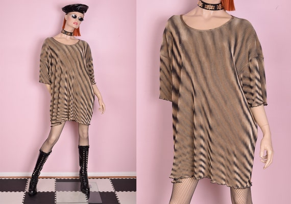 90s Psychedelic Micro Pleated Shirt/ XXXL/ 1990s