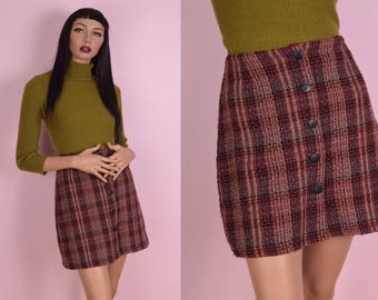 90s Tweed Button Down Skirt/ US 9-10/ 1990s