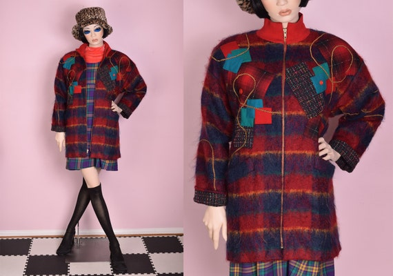 80s Plaid Patchwork Mohair Coat/ XS/ 1980s