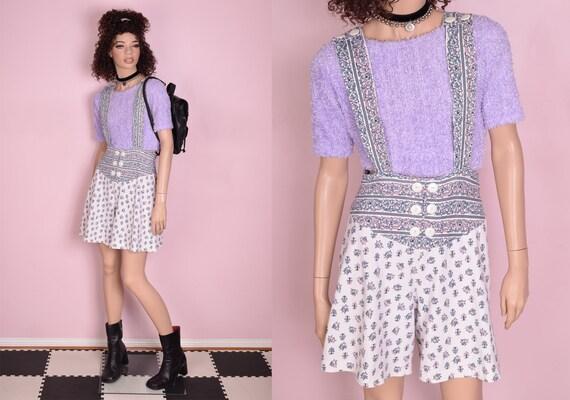 80s 90s Printed Suspender Shorts/ Medium/ 1980s/ 1