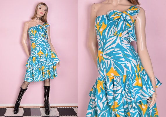 80s Tropical Print Layered Dress/ Medium/ 1980s