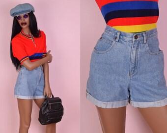 90s Blue High Waisted Denim Shorts/ 27 Waist/ 1990s