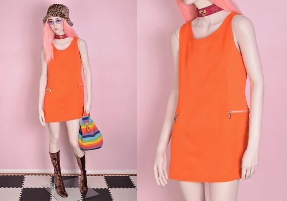 90s does 60s Orange Dress/ Medium/ 1990s/ Tank/ Sl