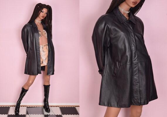 80s Black Leather Coat/ Medium/ 1980s/ Jacket - image 1