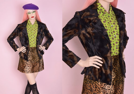 90s Brown and Black Cow Print Fuzzy Jacket/ Small/