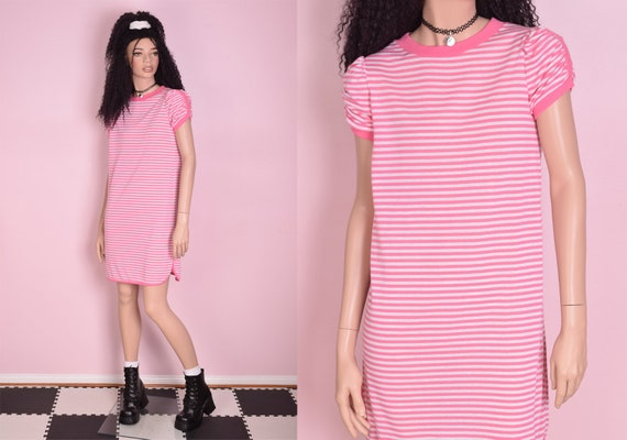 80s Deadstock Striped Tshirt Dress/ Small/ 1980s