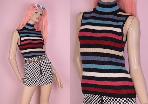90s Multicolor Striped Sparkly Ribbed Knit Turtlen