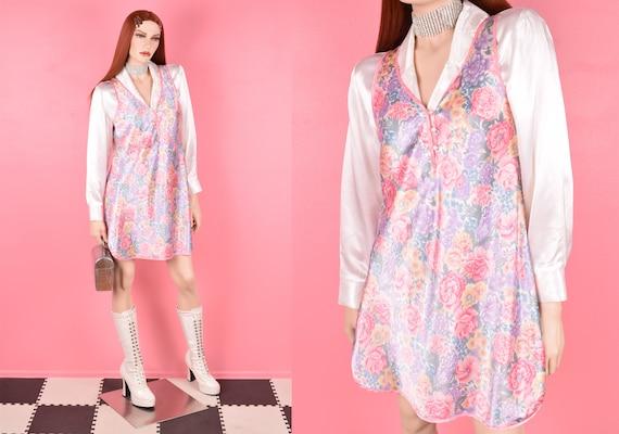 80s Floral Print Slip Dress/ Medium/ 1980s - image 1