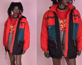80s Color Block Puffy Jacket/ Small/ 1980s/ Ski Jacket/ Hooded