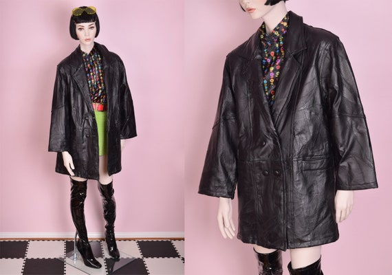 90s Black Patchwork Leather Coat/ XXL/ 1990s/ Jack