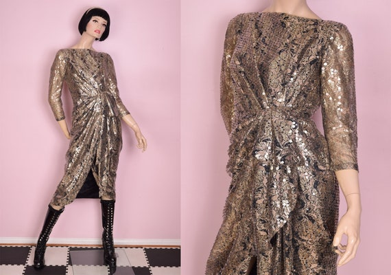 80s Champagne Sequined Lace Dress/ Small/ 1980s/ T