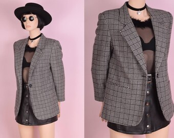 90s Black and White Plaid and Houndstooth Blazer/ US 8P/ 1990s/ Jacket