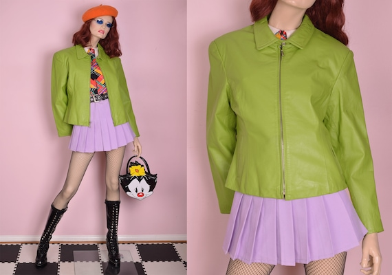90s Lime Leather Jacket/ Large/ 1990s