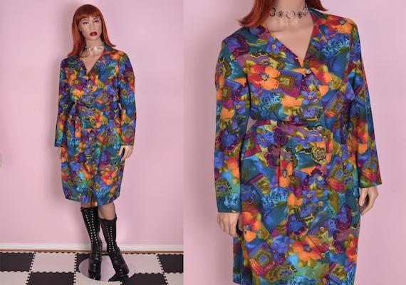 80s Colorful Floral Print Button Down Dress/ US 16