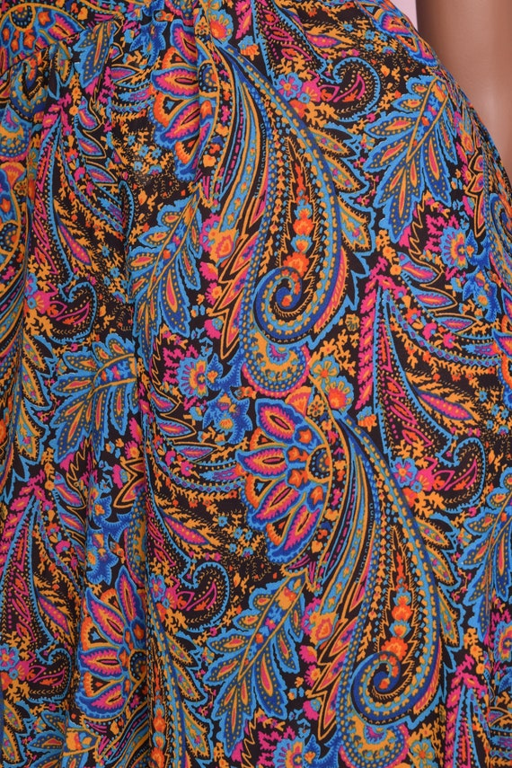 70s Paisley Print High Waisted Harem Pants/ Mediu… - image 2