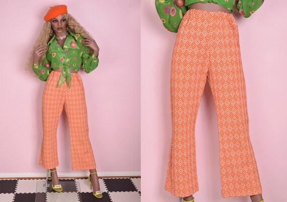 70s Diamond Pattern Knit Pants/ Medium/ 1970s