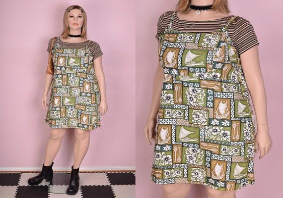 90s Hawaiian Print Mini Dress/ XL/ 1990s/ Tank/ Sl
