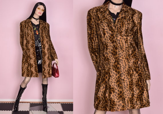 90s Fuzzy Leopard Print Coat/ Large/ 1990s/ Jacket