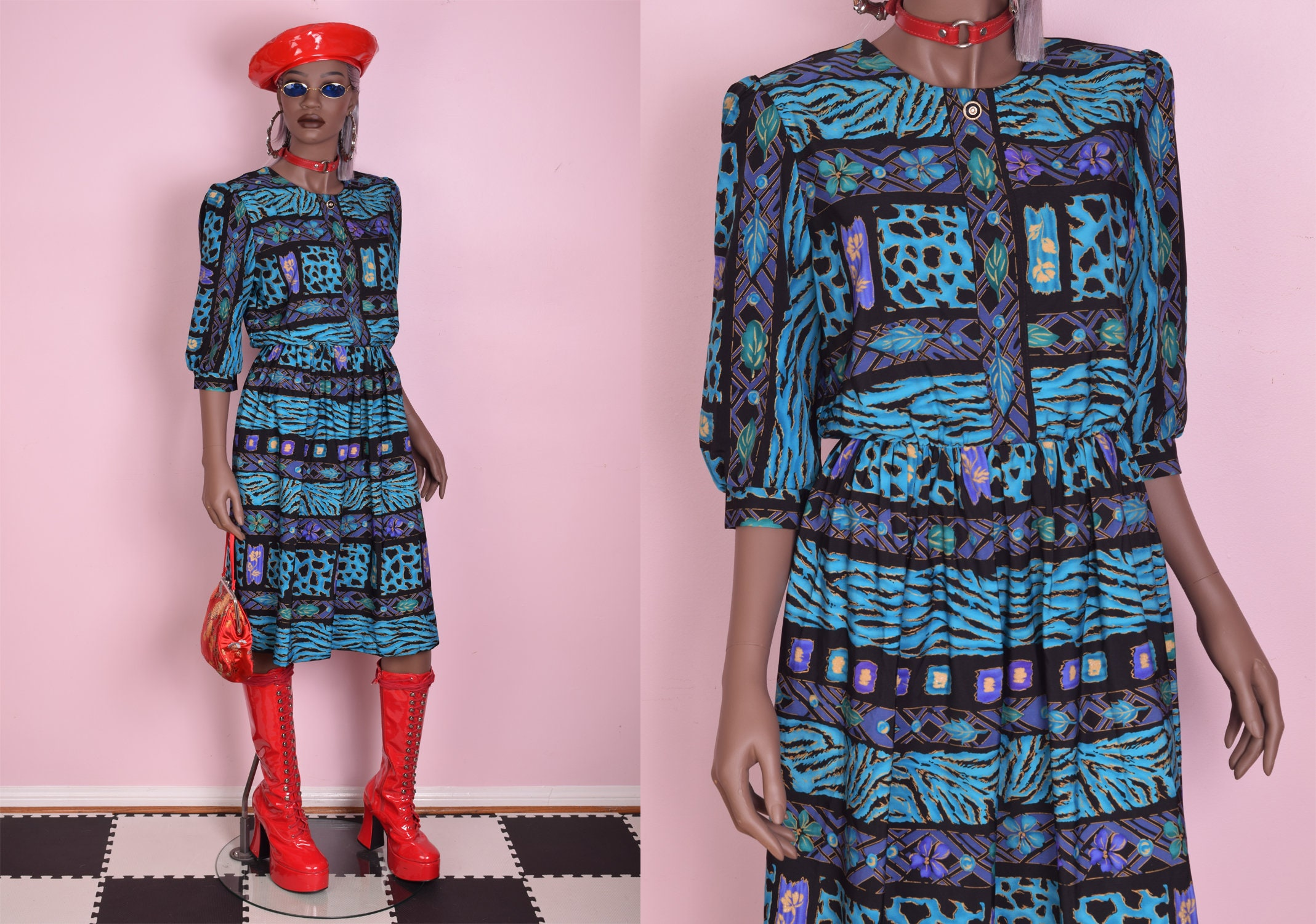 80s Dresses   Casual to Party Dresses 80S Multi Pattern Dress Us 8 1980S $24.75 AT vintagedancer.com