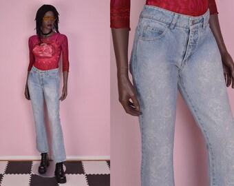 90s Rose Floral Print Jeans/ US 5/ 1990s