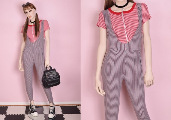 80s Striped Stirrup Jumpsuit/ Petite Small/ 1980s
