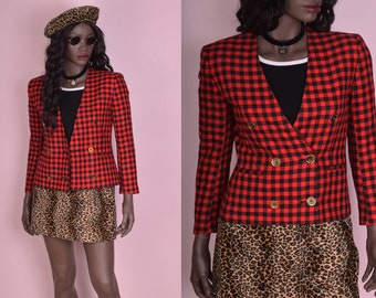 90s Red and Black Gingham Jacket/ US 2/ 1990s