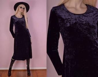 90s Purple Crushed Velvet Dress/ Small/ 1990s/ Long Sleeve