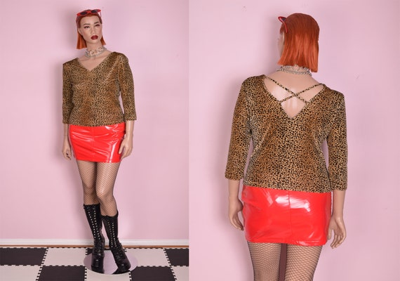 90s Cheetah Print Velvet Top/ Large/ 1990s