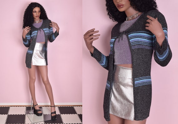 90s Sparkly Ribbed Knit Cardigan Sweater/ Medium/
