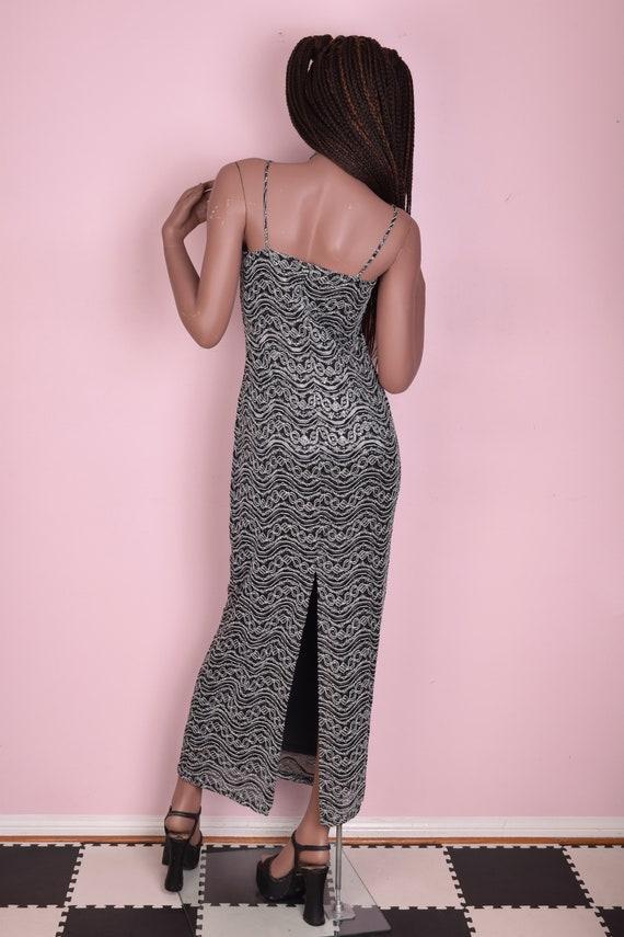 90s Silver Black and White Ornate Mesh Maxi Dress… - image 2
