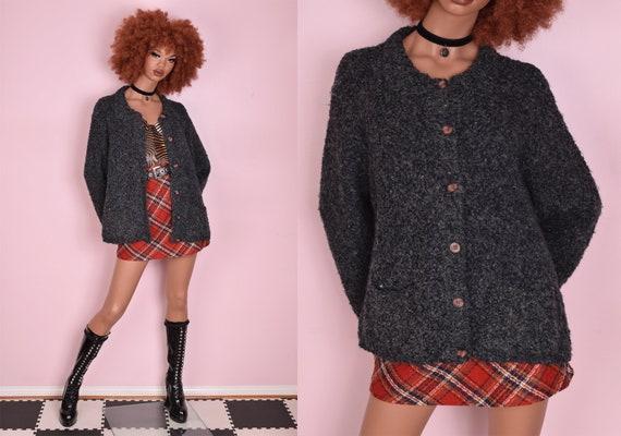 90s Popcorn Knit Cardigan Sweater/ XL/ 1990s