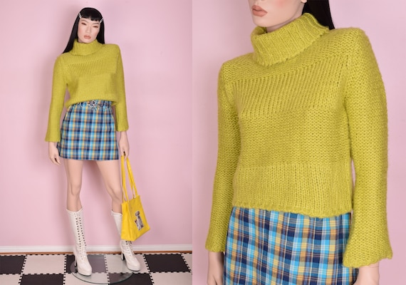 90s Y2K Green Chunky Knit Cropped Sweater/ Small/