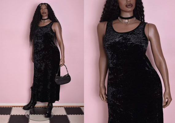 Sheer Black Party Club Dress Purple Velvet Lace Trim Hi Low Style UK 8 10