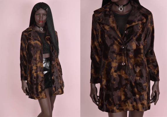 90s Fuzzy Brown Cow Print Coat/ Small/ 1990s/ Jack