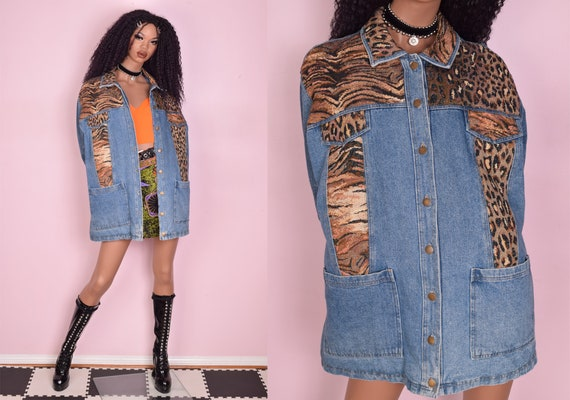 90s Animal Print Trim Puffy Denim Jacket/ 1X/ 1990
