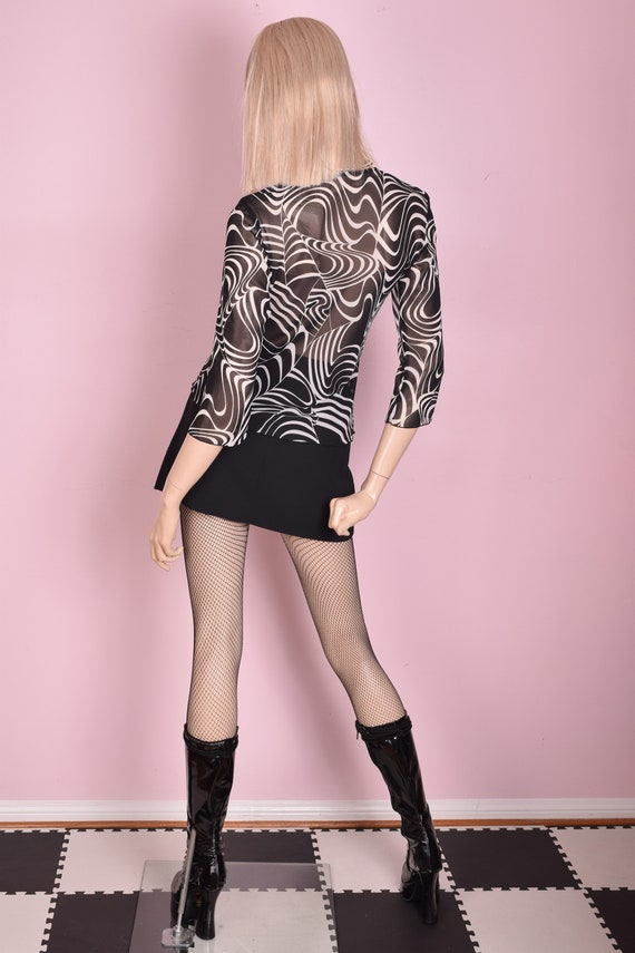 90s Black and White Sheer Psychedelic Print Top/ … - image 2