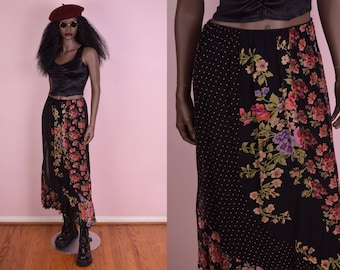 90s Floral Print Skirt/ Small/ 1990s/ Flowy