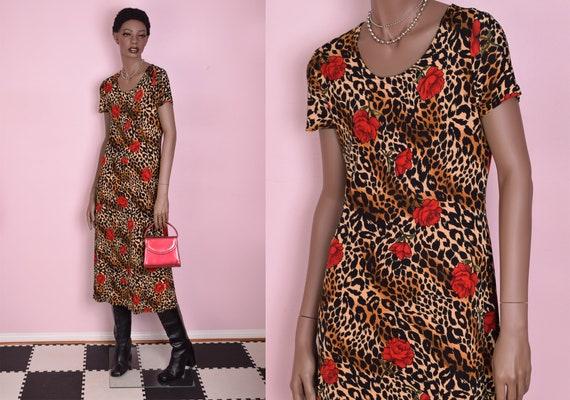 90s Rose and Animal Print Dress/ Medium/ 1990s