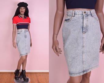 80s High Waisted Acid Wash Denim Skirt/ 27 Waist/ 1980s